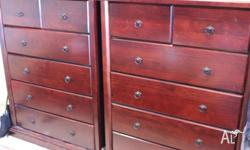 Gorgeous mahogany coloured timber Tall Boys $275 each.