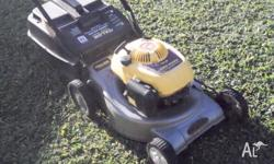 excellent mower, wide cut with mulching attachment,
