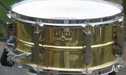 Tama 1980s Vintage Brass 14in x 6.5in Deep Snare Drum.