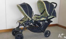 Navy blue Graco Stadium Duo Luxe tandem stroller with