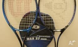 "1 Wilson 27"" tennis racket and 1 Dunlop 27"" tennis"