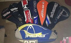 Used tennis racquet covers, different brands, see