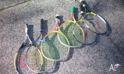 Lots of junior tennis racquets, all sizes, some new,
