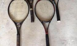 Tennis racquets, $30 for 4. 1 x Wilson Defender 2 x