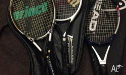 3 good tennis racquets! Head, Wilson and Prince. Old,