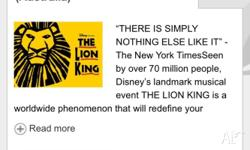 Selling two dress circle row e tickets to The Lion King