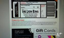 I have 2x tickets for Disney Presents the Lion King at