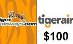 One $100 Tiger Airways E-Voucher ONLY for DOMESTIC