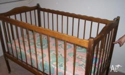 Timber teak look wooden cot with Mattress if you want