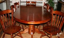 9 Piece solid, Oval Timber Dining Set, in excellent