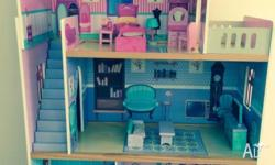 3 Storey Timber Dolls House Good Condition Includes