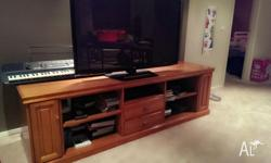 Large, solid timber TV Unit in good condition with