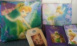 Tinkerbell cushion. 3 books. 1 canvas picture. All in