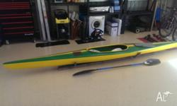 4.5m TK1 Fibre Glass Kayak in good condition with Fibre