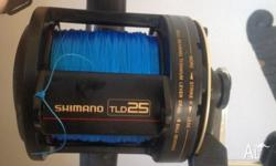 Shimano TLD25 loaded with 600m of 24kg mono. Rod is a