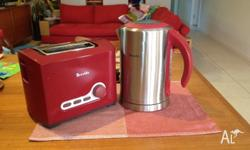 Breville Ikon Red and Stainless Steel toaster and
