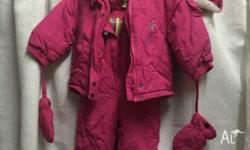 A beautiful pink baby girl ski suit for 24 month