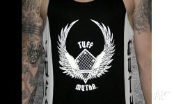 100% polyester singlet. Tuff Mutha logo screen printed