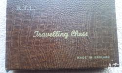 R..T.L travelling chess set. Made in England 17cm x 11