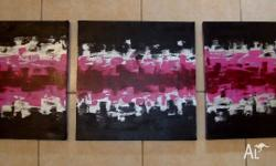 "$80 - Triptych. Each measures 18"" x 18"" Black, silver,"