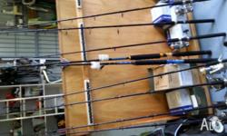9 Tuna Rods fully rollered brand new, $585 for lot