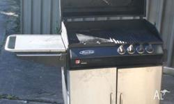 """Turbo"" BBQ in good condition. 1 of the 4 burners under"