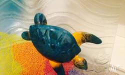 australian made glassware Turtle mounted on coral wall