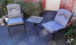 Two indoor/outdoor chairs with small square (500mm x