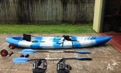 Two person sit on top kayak. Includes two clip in
