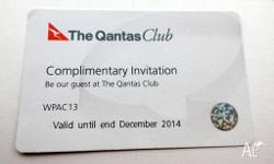 Qantas Club Lounge Invitations (2) which provide access
