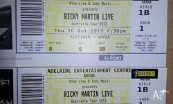 TWO PLATINUM - UPPER RICKY MARTIN TICKETS at adelaide