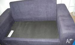 2 x two seater sofas; dark blue fabric, some pilling of