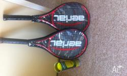 Two Tennis rackets, 1 x Sleeve of Balls Only used once,