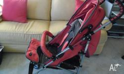 Umbrella style stroller, it has a reclining position.
