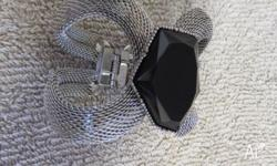 Unusual Silver Chain Mesh Bangle with large black stone