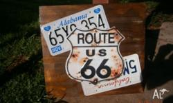USA LICENCE PLATE CUSTOM MADE WALL PLAQUE MOUNTED ON
