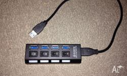 Brand New USB 3.0 Hub 4 Port For Sale.Individual Switch