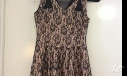 Valleygirl beige and black lace pattern dress - $15