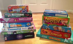 Lots of childrens' board games, conditions ranging from