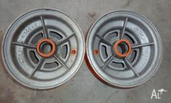 "Two Velox 9"" alloy boat wheels. 4.50 X 9"". No cracks"