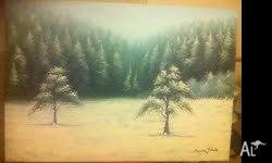 "Very large hand painted ""Winter Forest"". Very wintery"