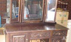 Very Old Large Antique Vintage Wingback Dressing Table