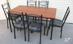 Very solid steel frame dining setting Wrought iron