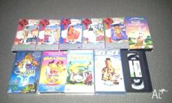 Assorted animated movies on VHS video cassette. Titles
