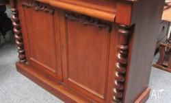 Antique Victorian period cedar sideboard. Two drawers,