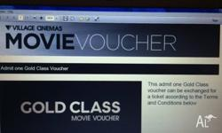 1x Village Gold Class Movie Voucher for sale Expires 30