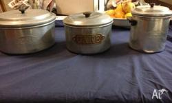 Vintage ART Deco Aluminium cake and tripping tins. Few