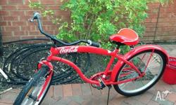 Vintage bicycle, red retro cruiser bike, fully working