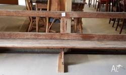 This old rustic church pew measures 3200mm long and is