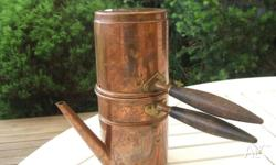 vintage copper coffee pot wooden handle made in